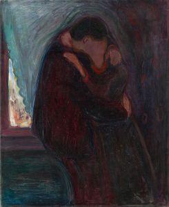 Edvard Munch, Il bacio del 1897. Due figure si uniscono e diventano una.