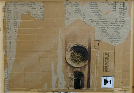 Facciata del duomo di Trento su cartone realizzato da Nana Ghini