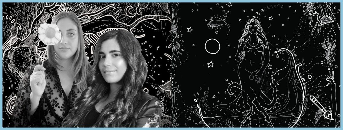 """Copertina articolo """"Afroditelo allo specchio incontra VENERE"""" con Alisia Viola (curatrice) e Giulia Lazzaron (artista) a sinistra e opera a cura di Giulia sulla destra"""
